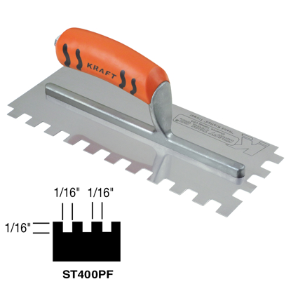 "Picture of 1/16"" x 1/16"" x 1/16"" Square-Notch Trowel with ProForm® Handle"