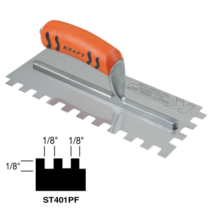"Picture of 1/8"" x 1/8"" x 1/8"" Square-Notch Trowel with ProForm® Handle"