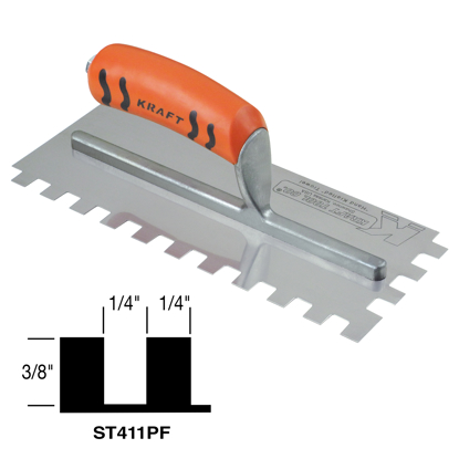 "Picture of 1/4"" x 3/8"" x 1/4"" Square-Notch Trowel with ProForm® Handle"