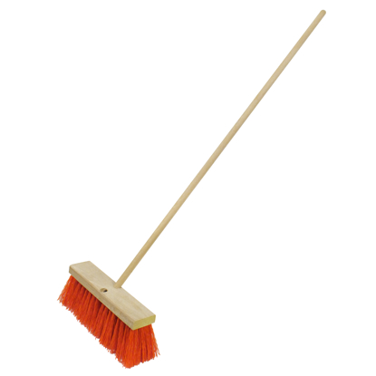 "Picture of 24"" Heavy-Duty Orange Sweeping Broom with Handle"