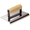 "Picture of 10"" x 6"" 1-1/2""R Stainless Steel Highway Edger with Wood Handle"