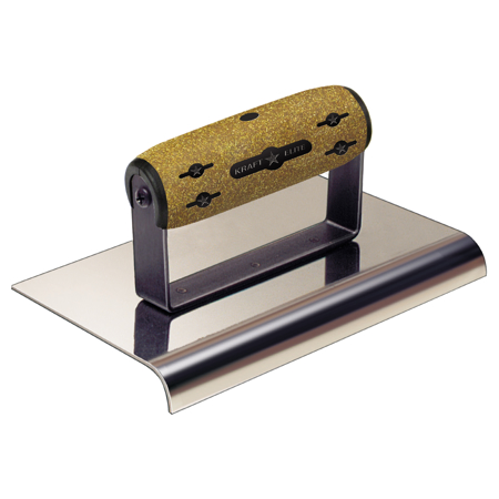 "Picture of 8"" x 8""  3/8""R Elite Series Five Star™ Stainless Steel Cement Edger with Cork Handle"