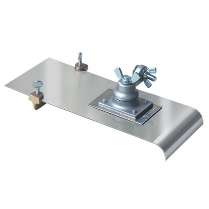 "Picture of 5"" x 12""  1/2""R, 1/4""D Stainless Steel Edger with Adjustable Groover with All-Angle Bracket and Handle"