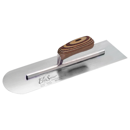 "Picture of Elite Series Five Star™ 16"" x 4"" Carbon Steel Round Front/Square Back Trowel with Laminated Wood Handle"