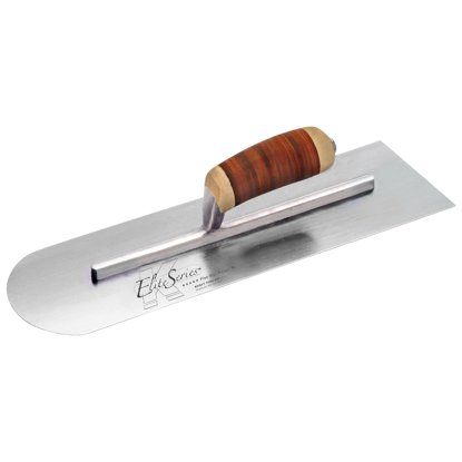 "Picture of Elite Series Five Star™ 18"" x 4"" Carbon Steel Round Front/Square Back Trowel with Leather Handle"