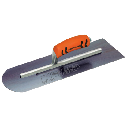 "Picture of 10"" x 4"" Round Front/Square Back Blue Steel Cement Trowel with ProForm® Handle"